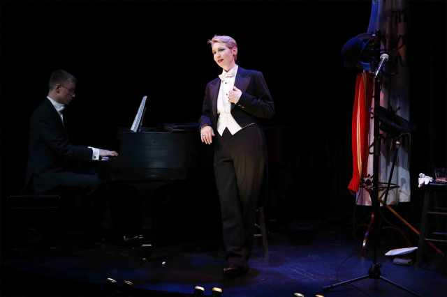 Jessica Walker stars in THE GIRL I LEFT BEHIND ME, with Joe Atkins on piano, part of Brits Off Broadway at 59E59 Theaters.  PHOTO: Carol Rosegg