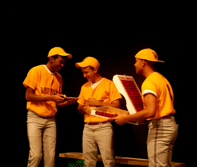 Malik Ali, Alejandro Rodriguez, and Sean Carvajal in GHETTO BABYLON at 59E59 Theaters. Photo by Lisa Silberman