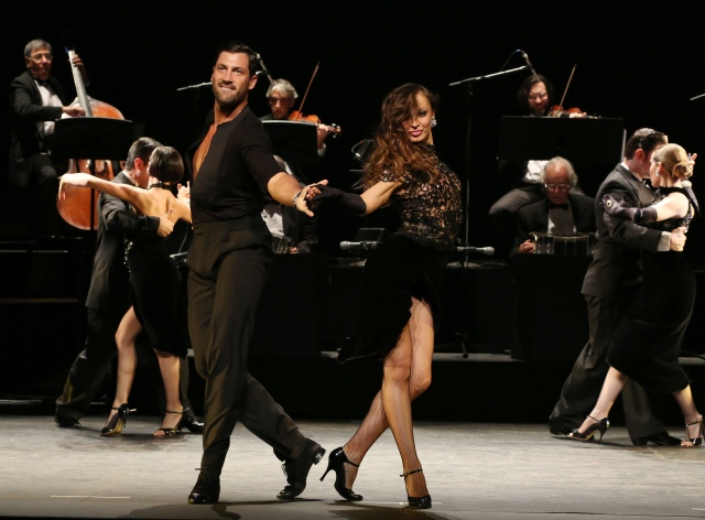 Karina Smirnoff and Maksim Chmerkovskiy and the cast of Forever Tango on Broadway. Photo credit: Walter McBride