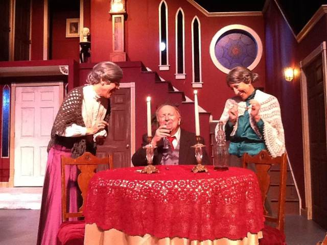(L-R) Leona Hoegsberg, Will Radcliffe & Carolyn Corsano Wong PHOTO: Courtesy of Stage Right Players