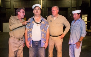 L-R: Capt. Brackett (Rick Sellers) gives Luther (Mike Ragan) a tongue lashing, while Cmdr. Harbison (Steve Murphree) and a fellow Seabee look on. PHOTO: Brad Meyer