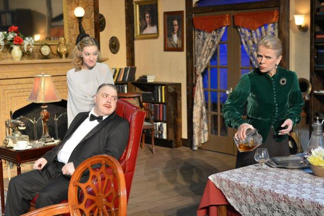 (L - R) Lauren Dolk, Steven Fenley, and Lisa Thomas Morrison in The Texas Repertory Theatre's production of BLITHE SPIRIT  Photo: Larry Lipton.
