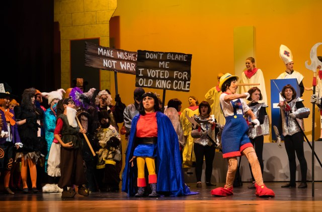 Brad Brickhouse as Lord Farquaad & the cast of SHREK PHOTO: Len Bates
