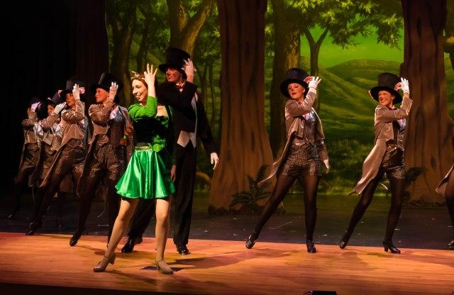 "Sarah Rentcome as Princess Fiona with the ""Rat Tappers"" Ensemble PHOTO: Len Bates"