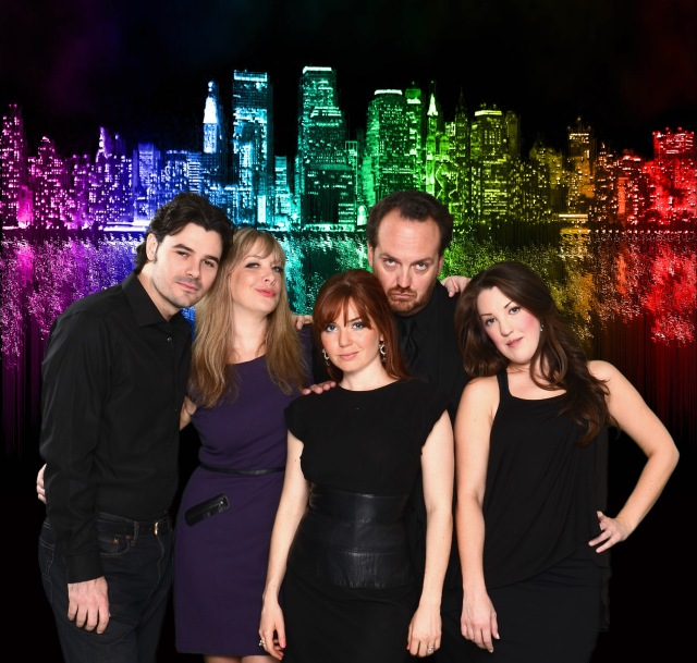 (L-R) Brad Scarborough, Rebekah Dahl, Cay Taylor, Luke Wrobel, Kristina Sullivan PHOTO: Courtesy of Music Box Theater
