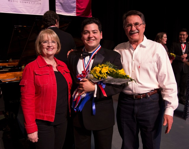 Beverly Melder (left) and Conroe Mayor Webb Melder (right) with VOICE Gold Medalist & Audience Choice Award Winner, tenor, Galeano Salas PHOTO: Brad Meyer