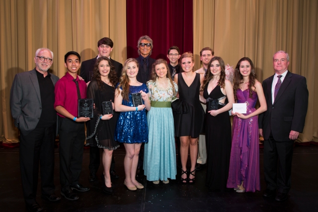 Tommy Tune Scholarship Recipients with Bruce Lumpkin (TUTS Artistic Director), Tommy Tune and John Breckenridge (TUTS President and CEO).