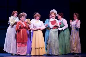 Chesley Ann Santoro as Eulalie Shinn, Liz Curtin as Alma Hix, Sara Jean Ford as Marian Paroo Ensemble. Photo by Bruce Bennett, courtesy of Theatre Under The Stars.