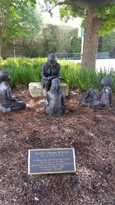 Pavilion entrance sculpture by J. Hester honoring Pavilion founder, Cynthia Woods Mitchell