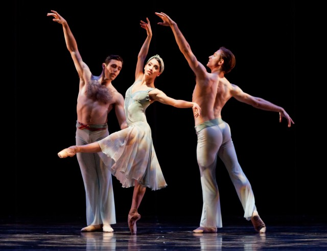 "(L-R) Connor Walsh, Karina Gonzalez, and Ian Casady in Houston Ballet's ""Tapestry"" PHOTO: Amitava Sarkar"