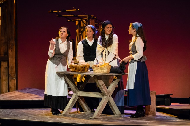 Mother Golde (Murphy Baker at left) and the daughters portrayed by Gabi Martinez, Abby Tozer and Payton Russell. PHOTO: Len Bates