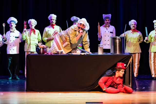 Sebastian (Brad Brickhouse) hides from the Chef (Toby Mustard) PHOTO: Leonard Bates