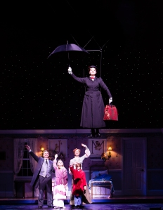Christina DeCicco takes flight as Mary Poppins above the Banks family (L-R Drew McVety, Kelly Lomonte, Sean Graul & Courtney Markowitz) PHOTO: Christian Brown