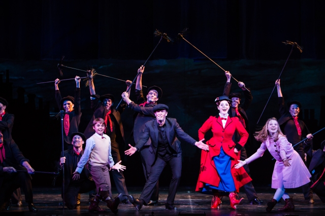 Dancing With the Chimney Sweeps (Front L-R Sean Graul as Michael, Danny Gardner as Bert, Christina DeCicco as Mary and Kelly Lomonte as Jane) PHOTO: Christian Brown