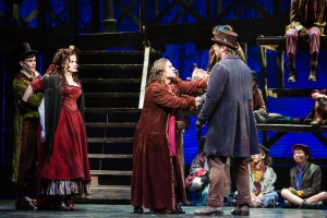 Caleb Donahoe as The Artful Dodger, Kathryn Porterfield as Nancy, James Leo Ryan as Fagin, and Nathaniel Hackmann as Bill Sykes.