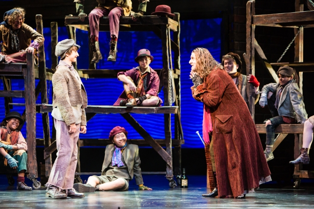 Christopher Wolff as Oliver and James Leo Ryan as Fagin