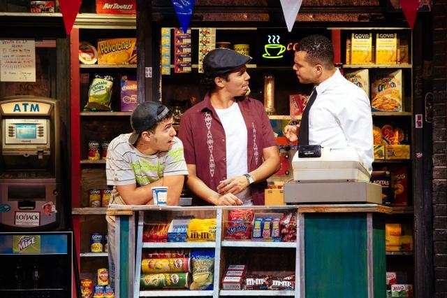 (L-R) Philippe Arroyo as Sonny, Anthony Lee Medina as Usnavi, Blaine Krauss as Benny & Isabel Santiago as Daniela. PHOTO by Os Galindo