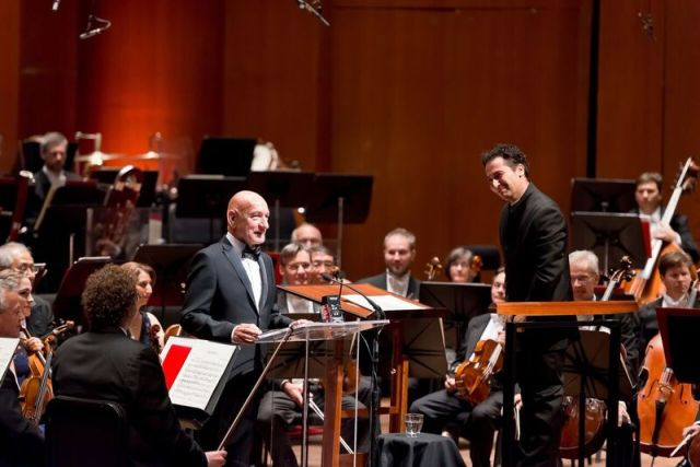 Sir Ben Kingsley (left) with Houston Symphony conductor, Andrés Orozco-Estrada (right). PHOTO: Anthony Rathburn