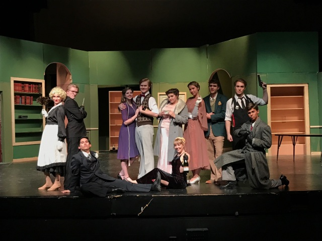 Cast of The Musical Comedy Murders of 1940 (L-R) Gabi Martinez, Will Prior, Vincent Szutenbach, Lauren Witt, Chance Bryant, Gabrielle Shuttee, Emily Hammer, Kat Meyer, Mike Candy, Anthony Shortt, Nolan Heermann PHOTO: Mallory Holt.